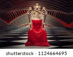 a woman in a luxurious gown... | Shutterstock . vector #1124664695