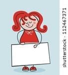 little school girl holding a... | Shutterstock .eps vector #112467371