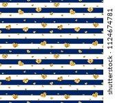 gold heart seamless pattern.... | Shutterstock .eps vector #1124674781