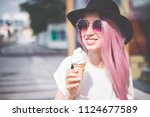 happy young hipster woman with... | Shutterstock . vector #1124677589