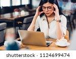lifestyle freelance working... | Shutterstock . vector #1124699474