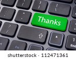 a thanks message on enter key of keyboard. - stock photo