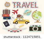 a set of travel elements... | Shutterstock .eps vector #1124715851