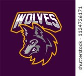 wolf esport gaming mascot logo... | Shutterstock .eps vector #1124726171