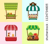 collection of fixed stalls for... | Shutterstock .eps vector #1124734805