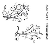 music. treble clef and notes... | Shutterstock .eps vector #112477049