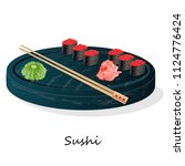 illustration of roll sushi with ... | Shutterstock . vector #1124776424