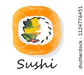 nigiri sushi illustration on a... | Shutterstock . vector #1124776451
