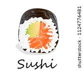 nigiri sushi illustration on a... | Shutterstock . vector #1124776481