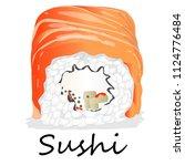 nigiri sushi illustration on a... | Shutterstock . vector #1124776484