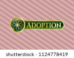 golden emblem with atom icon... | Shutterstock .eps vector #1124778419