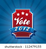 vote label over blue background.... | Shutterstock .eps vector #112479155