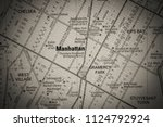 manhattan on usa map | Shutterstock . vector #1124792924