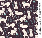Stock vector cute seamless pattern with cats in doodle style hand drawn vector illustration 1124793287