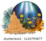 underwater card with sand...   Shutterstock .eps vector #1124794877