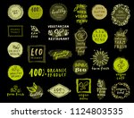 organic food labels set. vector ... | Shutterstock .eps vector #1124803535