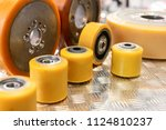 several conveyor rollers. spare ... | Shutterstock . vector #1124810237