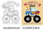 vector of monster truck cartoon.... | Shutterstock .eps vector #1124812364