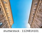 facade of an old building with... | Shutterstock . vector #1124814101