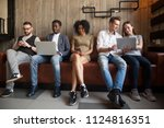 multiracial young people... | Shutterstock . vector #1124816351
