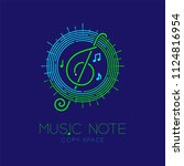 music note with line staff... | Shutterstock .eps vector #1124816954