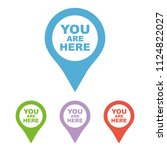 you are here icon. map pointer...   Shutterstock .eps vector #1124822027