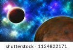 background with planets and...   Shutterstock . vector #1124822171