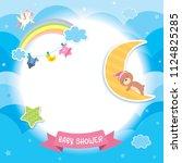 baby shower template design...   Shutterstock .eps vector #1124825285