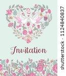 wedding invitation. beautiful...   Shutterstock .eps vector #1124840837