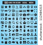 100 icons for web and design... | Shutterstock .eps vector #112484315