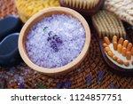 lavender bath salt with fresh... | Shutterstock . vector #1124857751