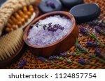 lavender bath salt with fresh... | Shutterstock . vector #1124857754