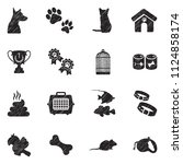 pet icons. black scribble... | Shutterstock .eps vector #1124858174