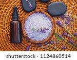 lavender bath salt with fresh...   Shutterstock . vector #1124860514