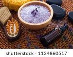 lavender bath salt with fresh... | Shutterstock . vector #1124860517