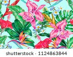 floral seamless vector tropical ... | Shutterstock .eps vector #1124863844