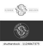 wedding monogram with two first ... | Shutterstock .eps vector #1124867375