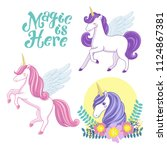 magic is here   set of unicorns ... | Shutterstock .eps vector #1124867381