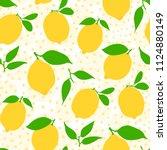 seamless lemon pattern   citrus ... | Shutterstock .eps vector #1124880149