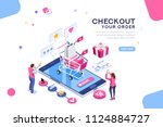 order online concept with... | Shutterstock .eps vector #1124884727