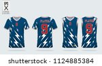 blue jersey with thunderbolt... | Shutterstock .eps vector #1124885384