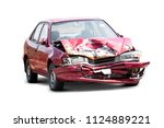 damaged crash car from accident ... | Shutterstock . vector #1124889221