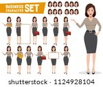 business woman vector character ... | Shutterstock .eps vector #1124928104