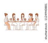 women in the table drinking...   Shutterstock .eps vector #1124940881