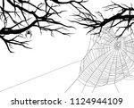 halloween theme black and white ... | Shutterstock .eps vector #1124944109