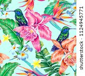 floral seamless vector tropical ... | Shutterstock .eps vector #1124945771