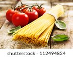 spaghetti and tomatoes with... | Shutterstock . vector #112494824