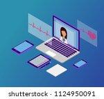 3d isometric telemedicine flat... | Shutterstock .eps vector #1124950091