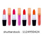 set of lip glosses and lip...   Shutterstock . vector #1124950424