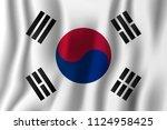 south korea realistic waving... | Shutterstock .eps vector #1124958425